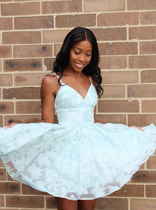A Line Spaghetti Straps Lace White Short Homecoming Dress