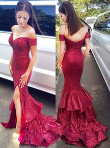 Sexy Mermaid Off the Shoulder Sweep Train Red Sequins Prom Dresses with Ruffles