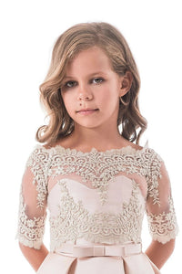 A Line Sweetheart Satin Sweep Train Half Sleeves Flower Girl Dresses