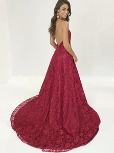 Sexy Chapel Train Backless Prom Dress with Side Slit