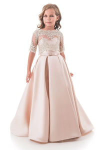 Pink A Line Sweetheart Satin Sweep Train Flower Girl Dresses