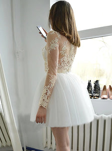 A Line White Bateau Mini Tulle Homecoming Dress with Appliques Sleeves
