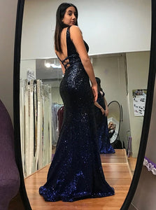 A Line V Neck Open Back Sleeveless Sequined Prom Dresses