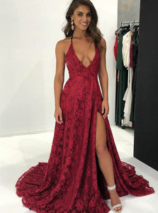 Sexy Burgundy Lace Deep V Neck Prom Dress