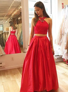 Brilliant Red Two Piece V Neck Satin Prom Dress with Lace Rhinestones