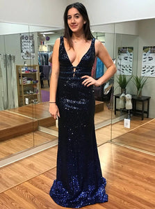 Blue A Line V Neck Open Back Sequined Sweep Train Prom Dresses