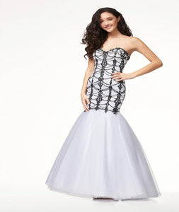 Mermaid Sweetheart Tulle Prom Dresses With Applique And Beads
