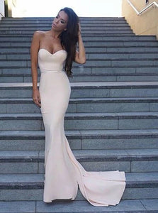 Mermaid Sweetheart Sweep Train Ivory Satin Prom Dresses with Ruffles