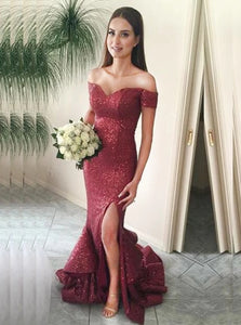 Graceful Mermaid Off the Shoulder Sweep Train Red Sequined Prom Dress with Ruffles