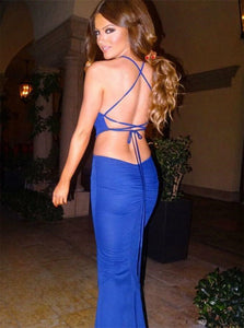 Mermaid Spaghetti Straps Royal Blue Spandex Lace Up Prom Dress with Sweep Train