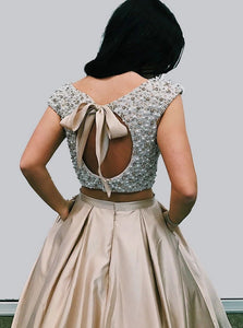 Two Piece Champagne Satin Round Neck Open Back Prom Dress with Beading Pockets LBQ0014