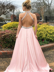 Sexy A Line Halter Open Back Beadings Pink Prom Dresses With Pockets