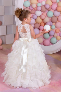 A Line Sleeveless Chiffon Ruffles Lace Up Flower Girl Dresses