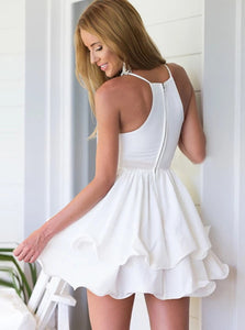 White A Line Spaghetti Straps Ruffled Chiffon Mini Homecoming Dress