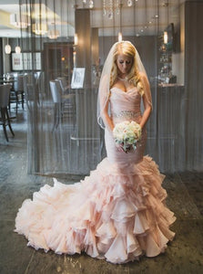 Romantic Sweetheart Mermaid Wedding Dress with Beading