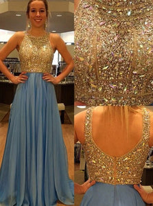 Luxurious A Line Sequined Jewel Chiffon Prom Dresses