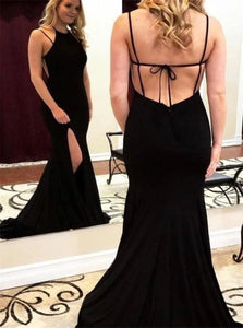 Black Spaghetti Straps Spandex Lace Up Prom Dresses with Slit and Chapel Train