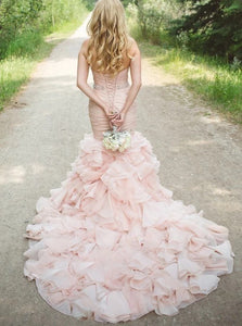 Blushing Pink Sweetheart Mermaid Wedding Dress with Beading