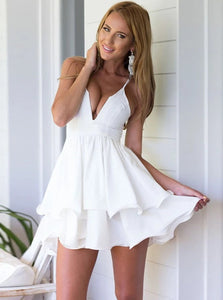 Sexy White A Line Spaghetti Straps Ruffled Chiffon Homecoming Dress
