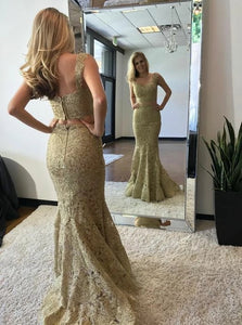 Groovy Two Piece Champagne Mermaid V-Neck Sweep Train Lace Prom Dress