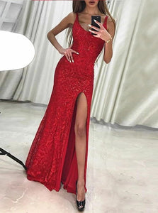 Red Sheath Scoop Sleeveless Lace Floor Length Prom Dress with Beadings