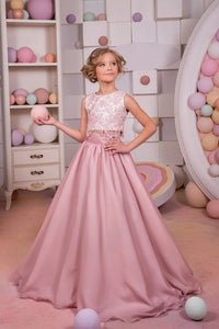 2019 Two Piece Scoop Chiffon Lace Flower Girl Dresses Sweep Train