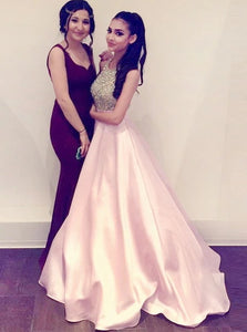 A Line Halter Pink Satin Prom Dresses with Beadings Pockets