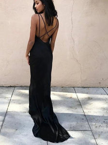 Black Sheath V Neck Criss Cross Satin Sleeveless Prom Dresses