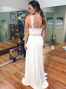 A Line Cross Neck White Chiffon Sleeveless Prom Dresses