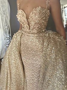 Spaghetti Straps Champagne Sequined Appliques Prom Dress with Detachable Train