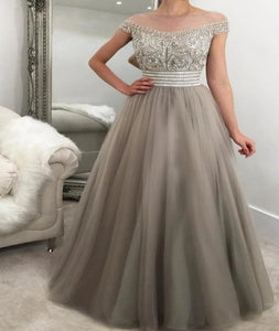 Off the Shoulder A Line Tulle Grey Prom Dresses with Rhinestones