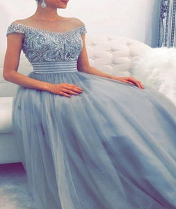 Off the Shoulder A Line Tulle Blue Prom Dresses with Rhinestones