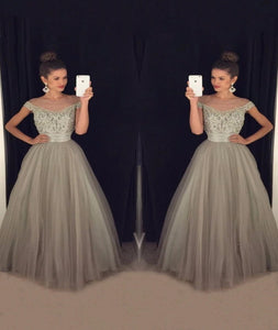 Off the Shoulder A Line Tulle Prom Dresses with Rhinestones