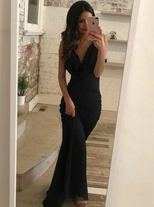 Black Sheath V Neck Criss Cross Satin Sweep Train Prom Dresses