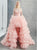 A Line High Low Pink Tulle Prom Dresses
