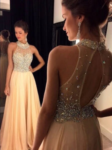 Champagne A Line High Neck Crystals Beaded Floor Length Prom Dresses