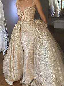 Mermaid Champagne Sequined Appliques Prom Dress with Detachable Train