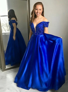 A Line Off the Shoulder Royal Blue Satin Prom Dress with Beadings LBQ0297