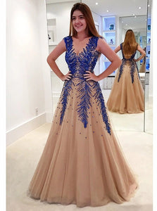 Sweep Train Open Back Champagne Tulle Prom Dresses with Beadings
