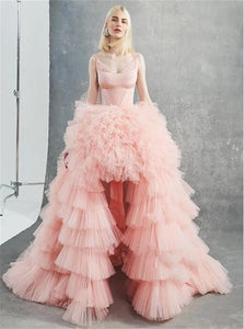 A Line Scoop Asymmetrical Pink Tulle Prom Dresses