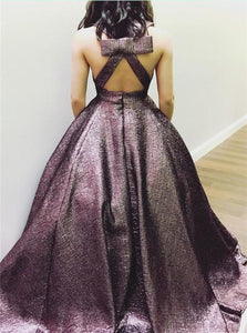 Deep V Neck Ball Gown Open Back Prom Dresses With Pockets and Sweep Train