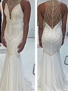 Sexy White Mermaid Jewel Back Beaded Chiffon Zipper Up Prom Dresses