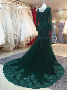 Green Mermaid Long Sleeves Tulle Prom Dress with Appliques LBQ0155