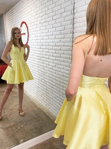 Yellow A Line V Neck Spaghetti Straps Satin Knee Length Homecoming Dress