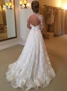 Ball Gown Long Sleeves Lace High Neck Chapel Train Open Back Wedding Dresses