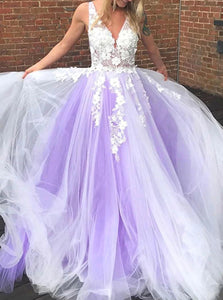 Purple Deep V Neck Ball Gown Evening Dress