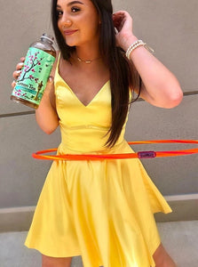 Yellow A Line V Neck Spaghetti Straps Satin Homecoming Dress