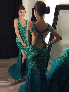 Mermaid Scoop Green Sequins Tulle Criss Cross Prom Dresses with Beadings