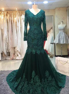 Green Mermaid Long Sleeves Tulle Prom Dresses with Appliques