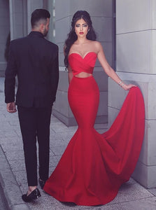 Red Mermaid Sweetheart Satin Prom Dress with Pleats and Sweep Train